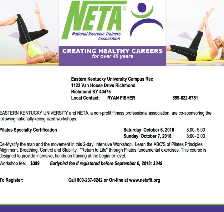 Neta Pilates Specialty Certification Campus Recreation Eastern