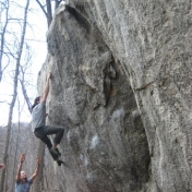 Bouldering!!!!!      Rumbling Bald, Bat Cave, North Carolina