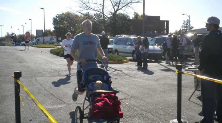 Homecoming 5K Finisher with Baby Stroller