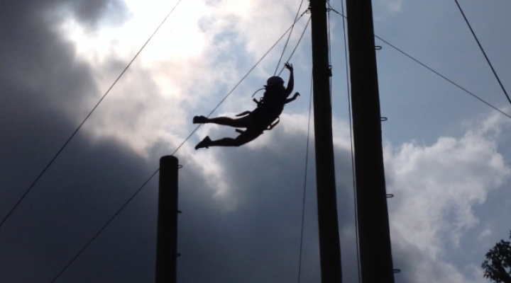 Jumping to hit the bell on the Pamper Pole