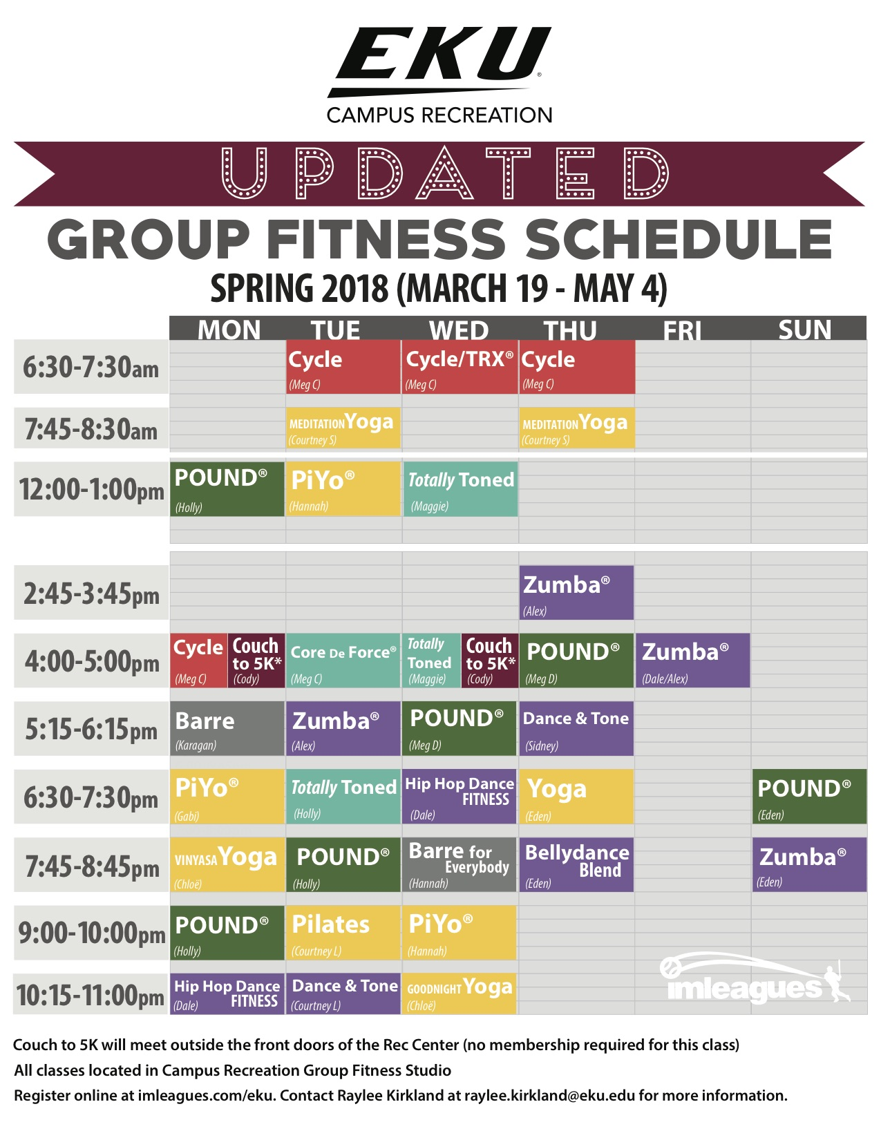 Group Fitness Spring 2018 schedule